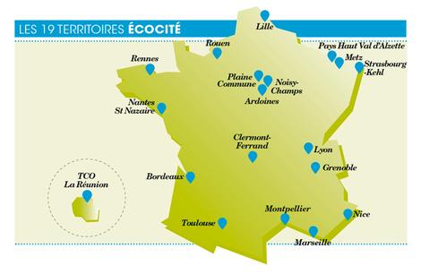 Les 19 territoire écocités en France.